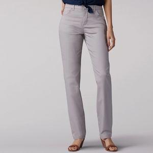 NEW LEE PETITE STRAIT LEG HIGH RISE PANTS